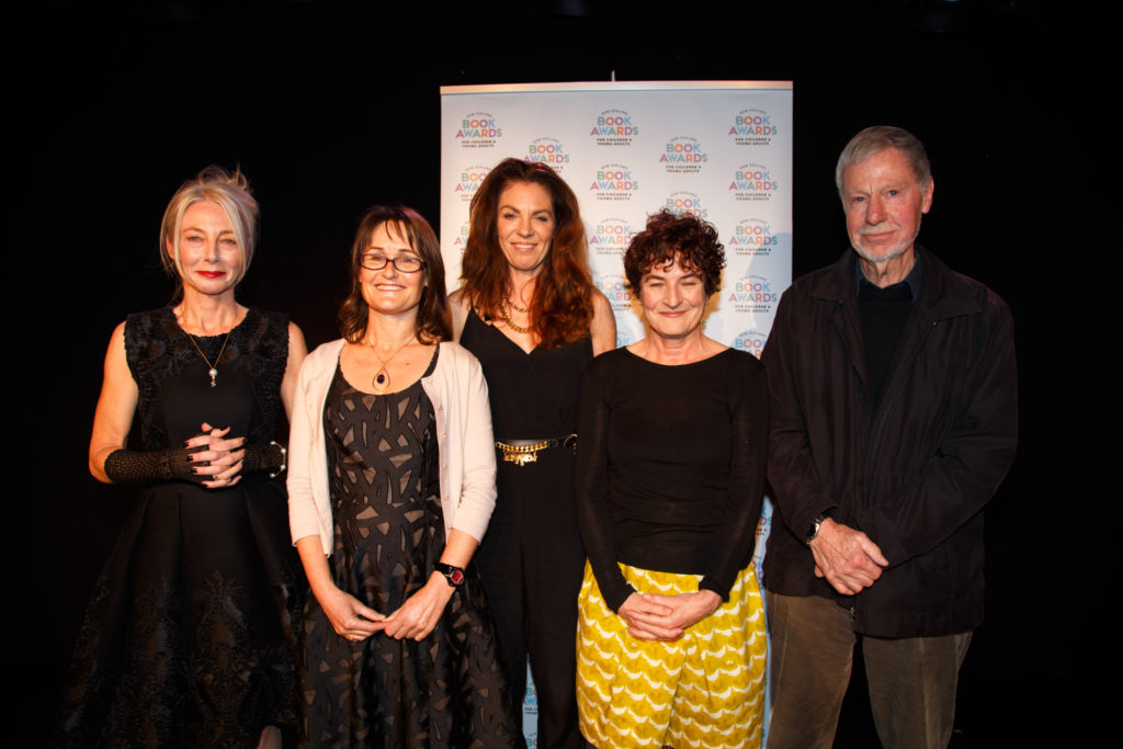 Sarah Johnson (second from left) with the other finalists in the junior fiction category of the New Zealand Book Awards for Children and Young People 2016; Kate De Goldi (second from right) won the award.